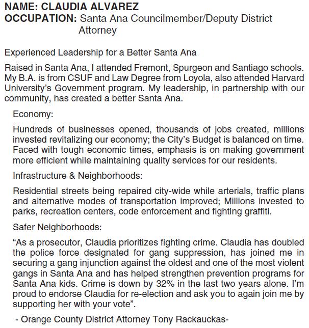 "Santa Ana Councilwoman Claudia Alvarez is so unpopular that Santa Ana Mayor Miguel Pulido and Santa Ana Councilman Vince Sarmiento left her off their ""Leadership Team."" Of course the official […]"