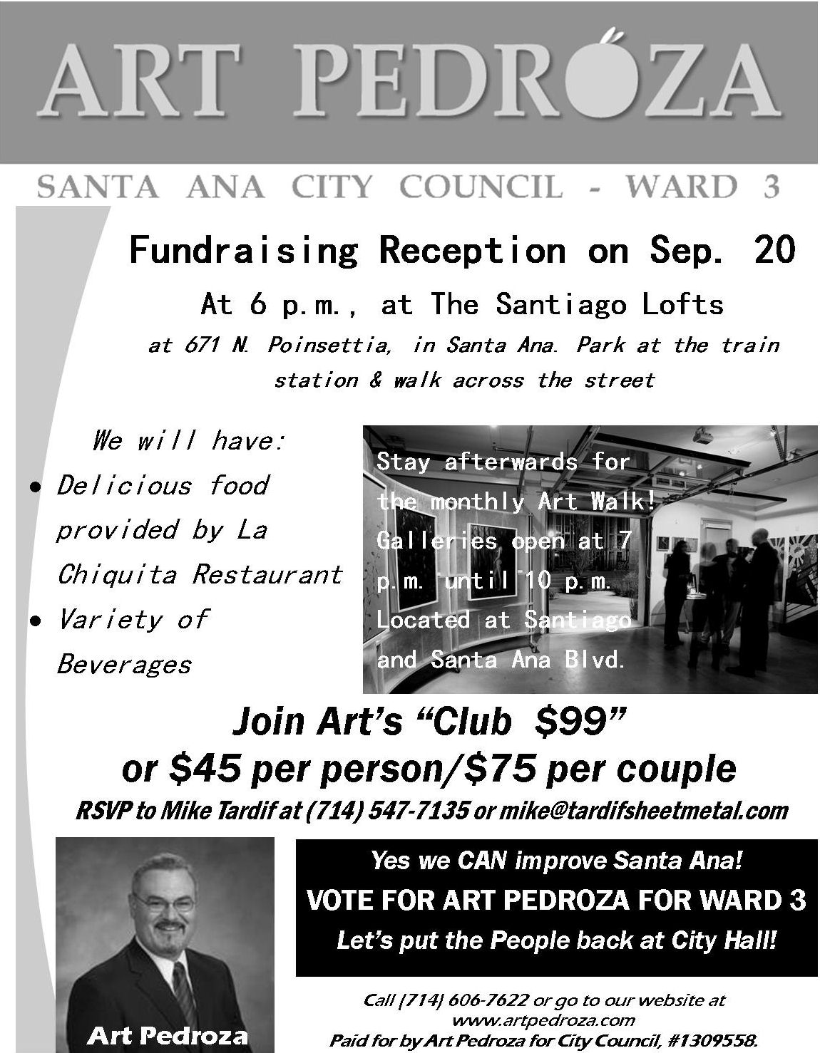 Everyone is invited to attend a festive fundraiser for Art Pedroza's campaign for City Council. Enjoy great comida catered by the famous La Chiquita Restaurant located in Logan Barrio. Take […]