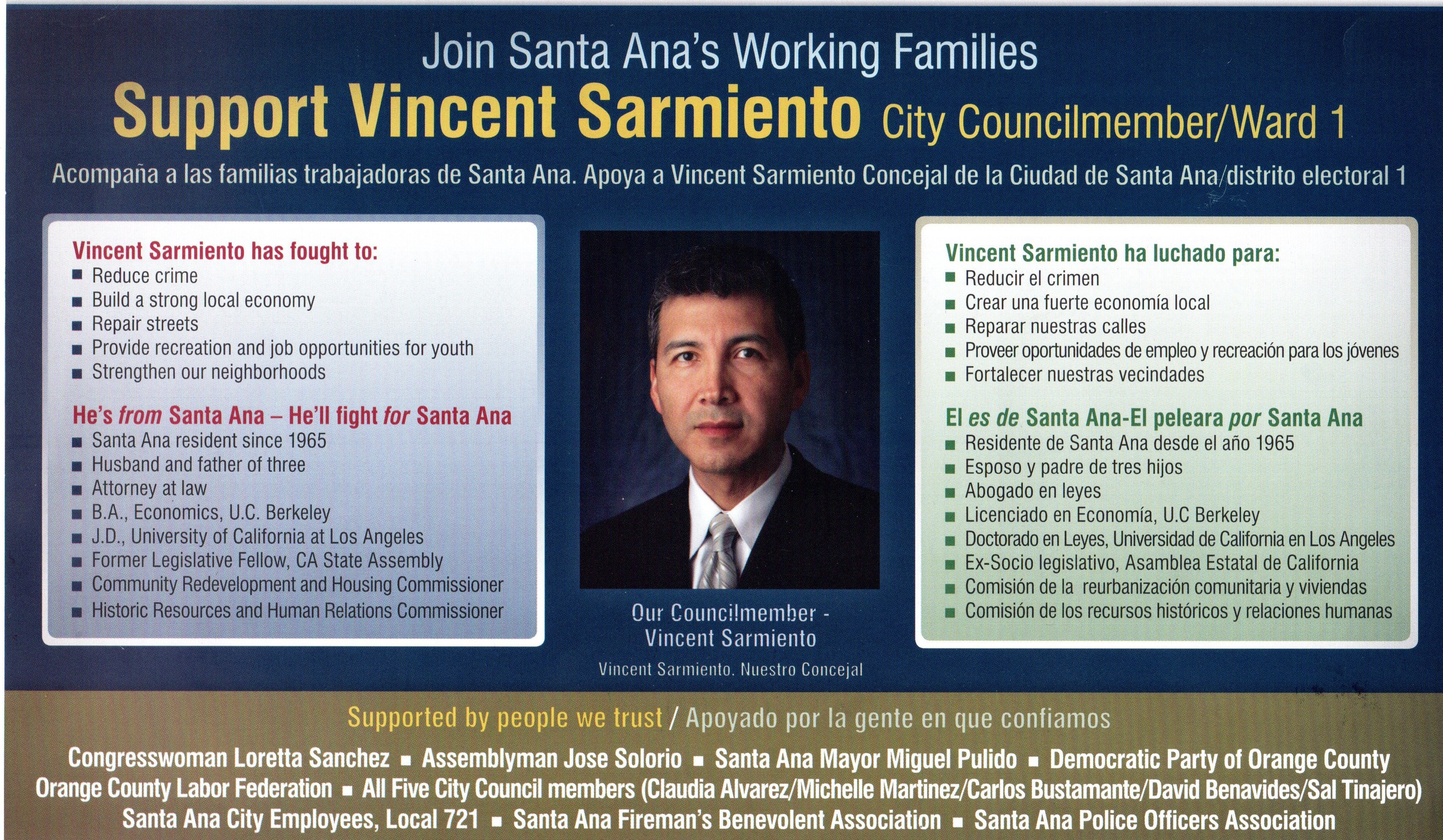 Santa Ana Councilman Vince Sarmiento looks nervous, according to those who have run into him of late. Apparently the SEIU conducted a poll last week that showed him only 9 […]