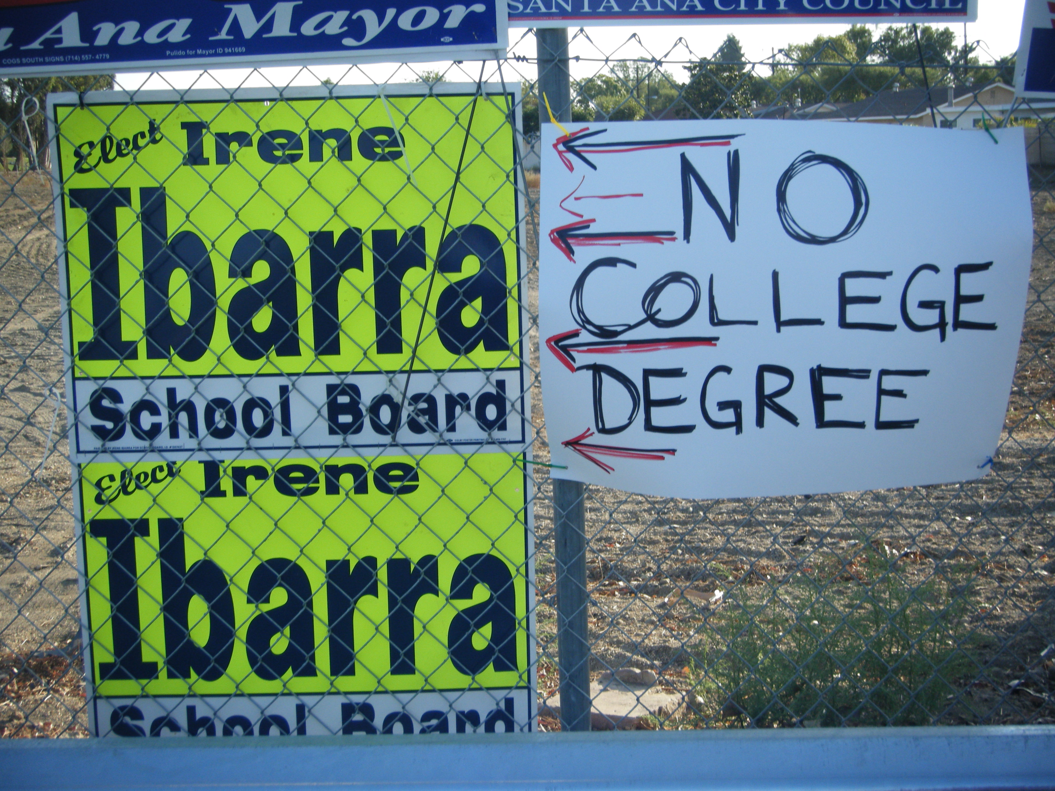 SAUSD School Board candidate Gregory Barraza and his wife were caught red-handed today affixing the handmade sign seen in the picture above to a fence, next to Irene Ibarra's campaign […]