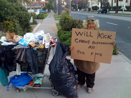 The homeless lady made famous by a picture that showed her holding up a sign saying she would kick Santa Ana Councilman Carlos Bustamante's ass for food needs our help. […]
