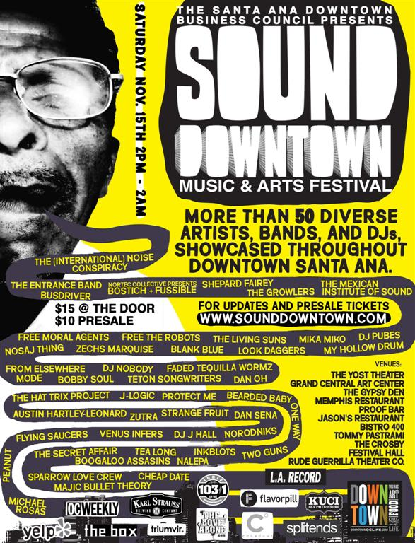 "Koos is back in Santa Ana and tonight you can enjoy their first concert production, ""soundDowntown 2008,"" which ""is a one-day music festival on Saturday, November 15, featuring a lineup of […]"