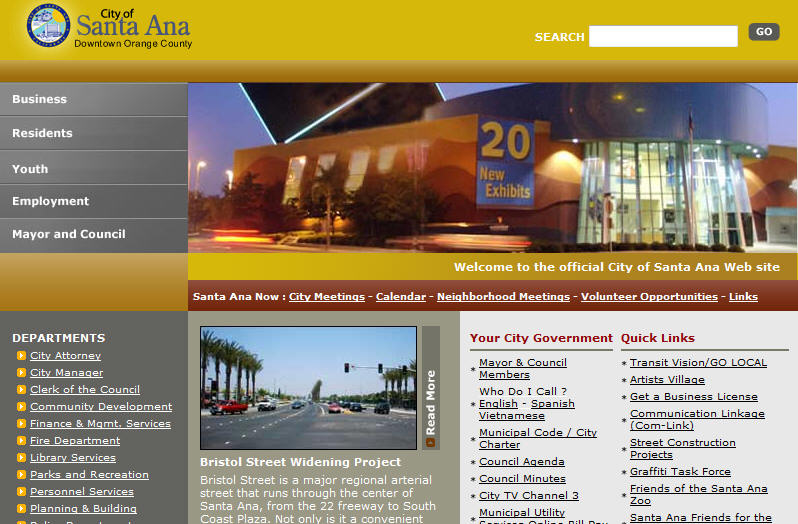 """A city's home page says a lot. The City of Santa Ana's website clearly states """"our government is closed to you."""" Travel south to the City of Costa Mesa and […]"""