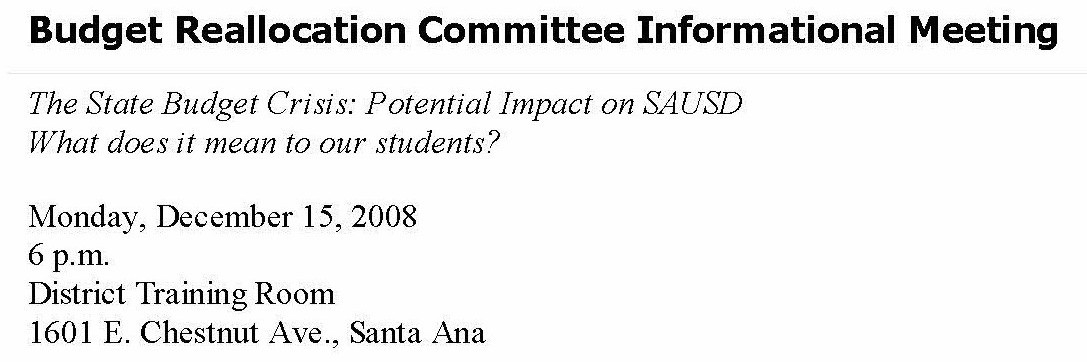 The Santa Ana Unified School District (SAUSD) has scheduled yet another budget crisis meeting for tonight, at 6 p.m, at their headquarters, located at 1601 E. Chestnut Ave., in Santa […]