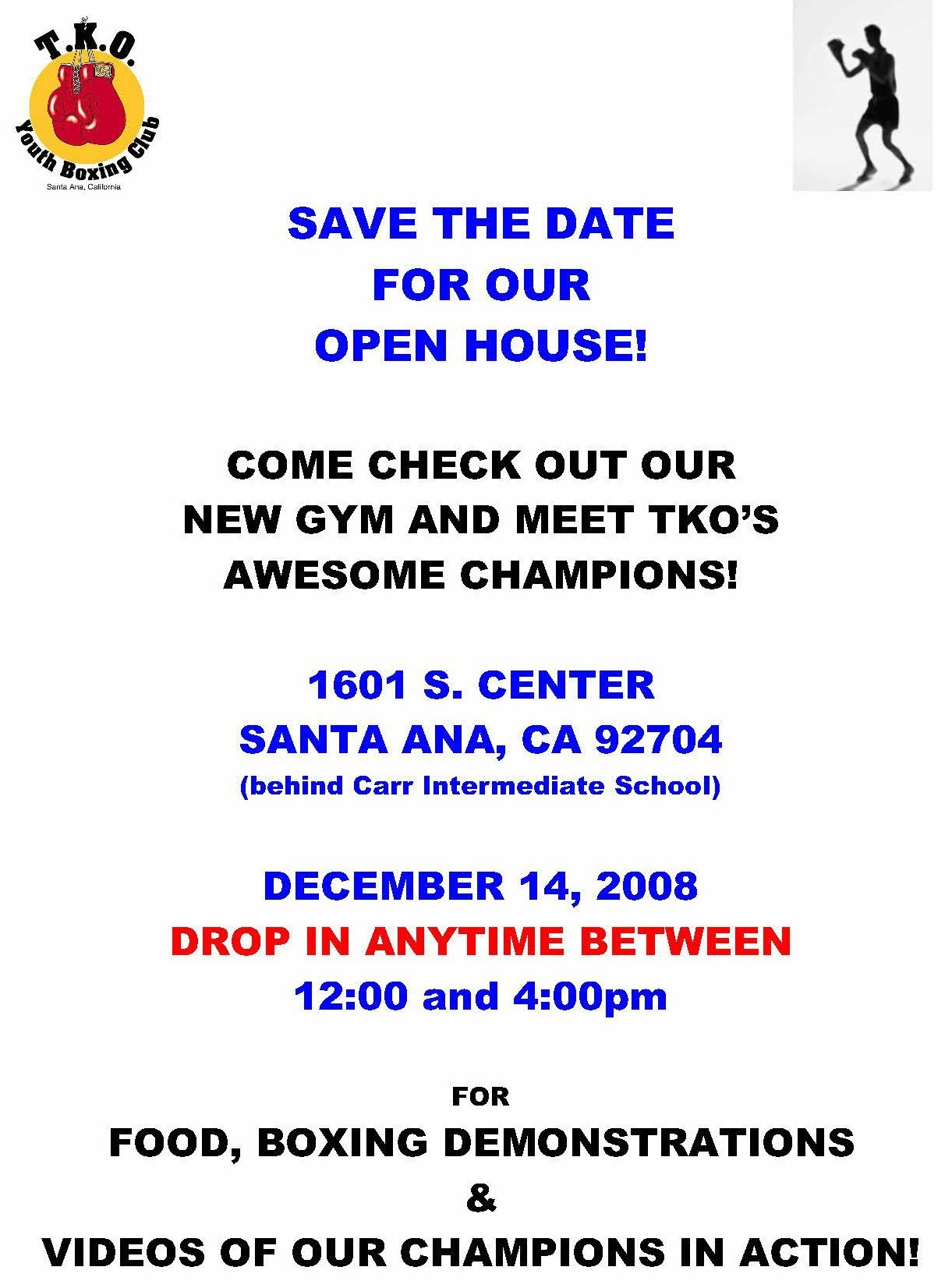 Santa Ana's TKO Boxing Club is having an open house today from 12 noon to 4 pm. Come by and support these young men who have found success as athletes […]