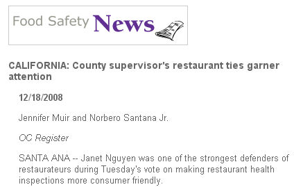 """Ruh-roh! Just when Supervisor Janet Nguyen thought she could run away from her vote against proposed Restaurant Ratings, the """"Food Safety News,"""" which is produced by Iowa State University, picked […]"""