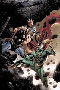 Thor beats up Loki