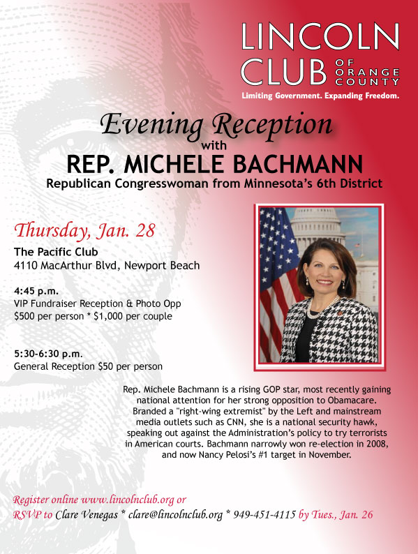 Can't get enough of GOP Congresswoman Michele Bachmann? She is concluding her west coast trip with an event at the Pacific Club, in Newport Beach, on Thursday, January 28, at […]