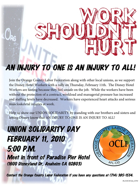Join the Orange County Labor Federation along with other local unions, as we support the Disney Hotel Workers with a rally on Thursday, February 11th. The Disney Hotel Workers are […]