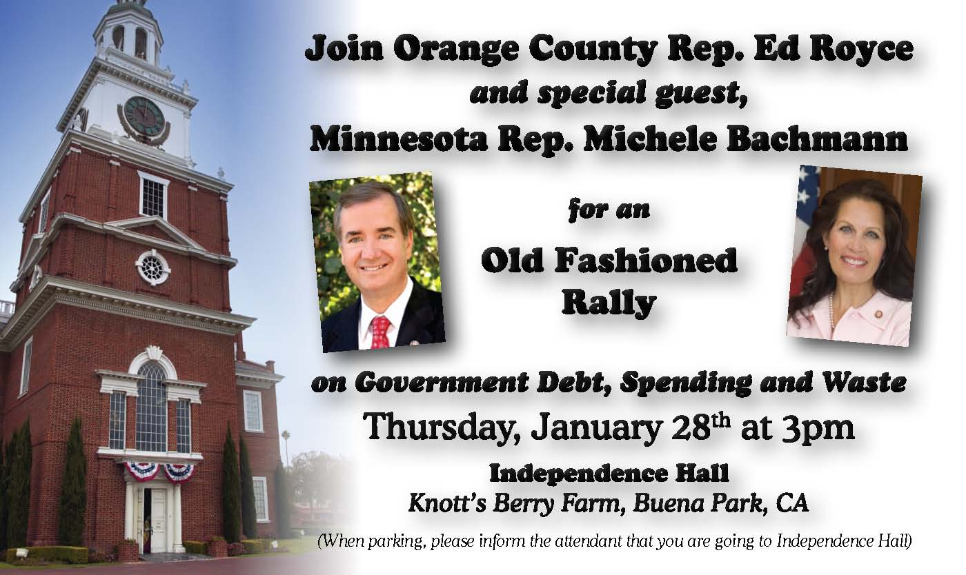 Ruh roh! Congressman Ed Royce is bringing one of THE biggest nutters in Congress here to Orange County! They will be holding a rally on January 28, from 3pm to […]