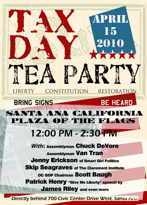 The Orange County Tea Party Patriots 2010 will be holding a Tax Day Tea Party Rally on April 15, in Santa Ana, at the Plaza Of The Flag, located at […]