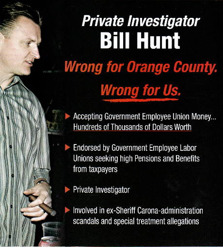 Private investigator Bill Hunt got RIPPED today in a mailer sent by appointedO.C. Sheriff Sandra Hutchens, to Republican voters. Hunt looks like a total sleazebag in the mailer, with his […]