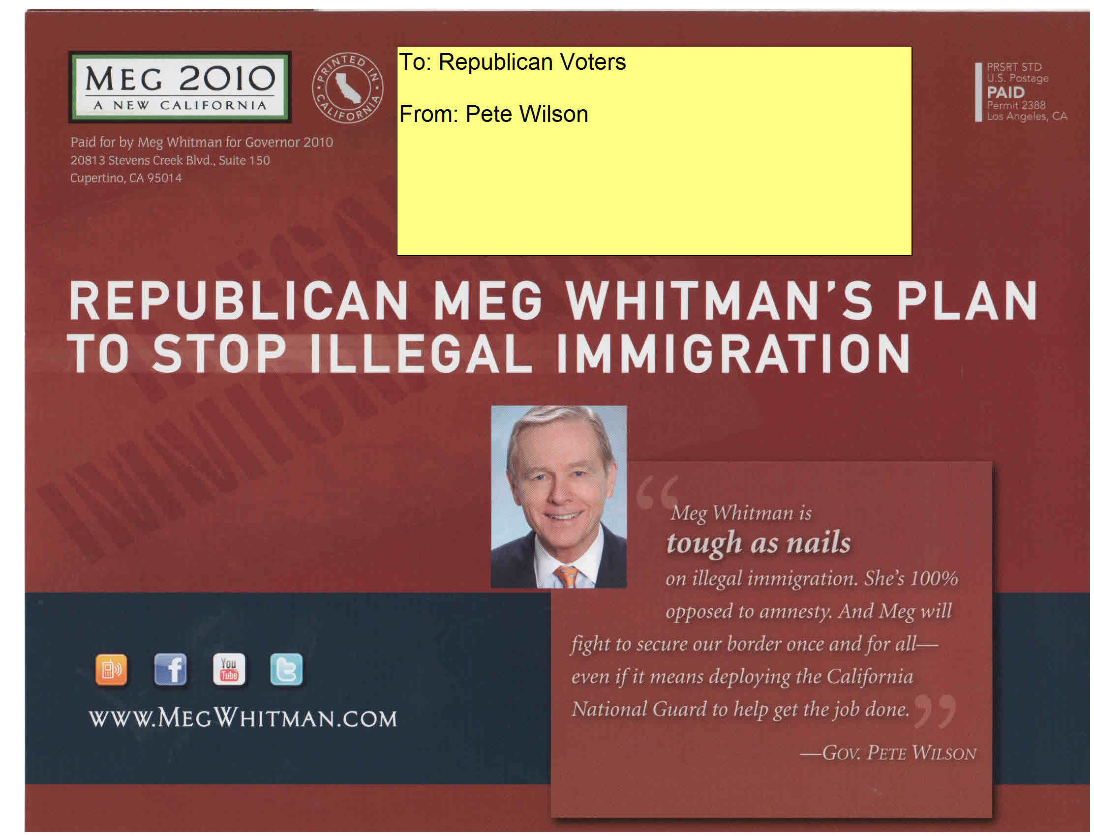 He's Back… Republican gubernatorial candidate Meg Whitman has jumped on board the anti-Mexican Crazy Train. Her latest campaign mailer makes it clear that former Governor Pete Wilson is directing her […]