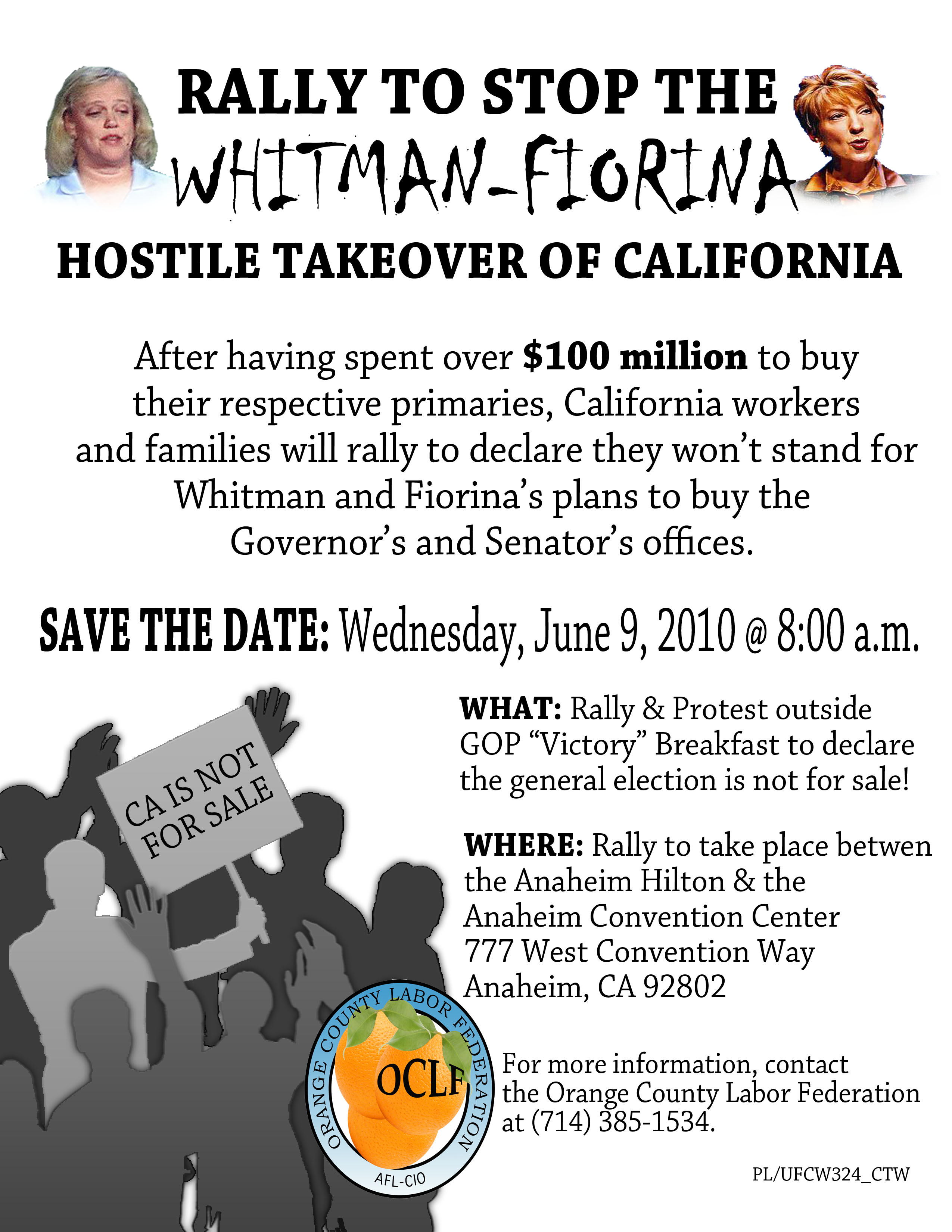 FOR IMMEDIATE RELEASE: JUNE 9, 2010 Rally To Stop the Whitman-Fiorina Hostile Takeover of CA Contacts: Priscilla Luviano (714) 488-3860, Steve Smith (510) 326-4644 Anaheim, CA – As Republican candidates […]