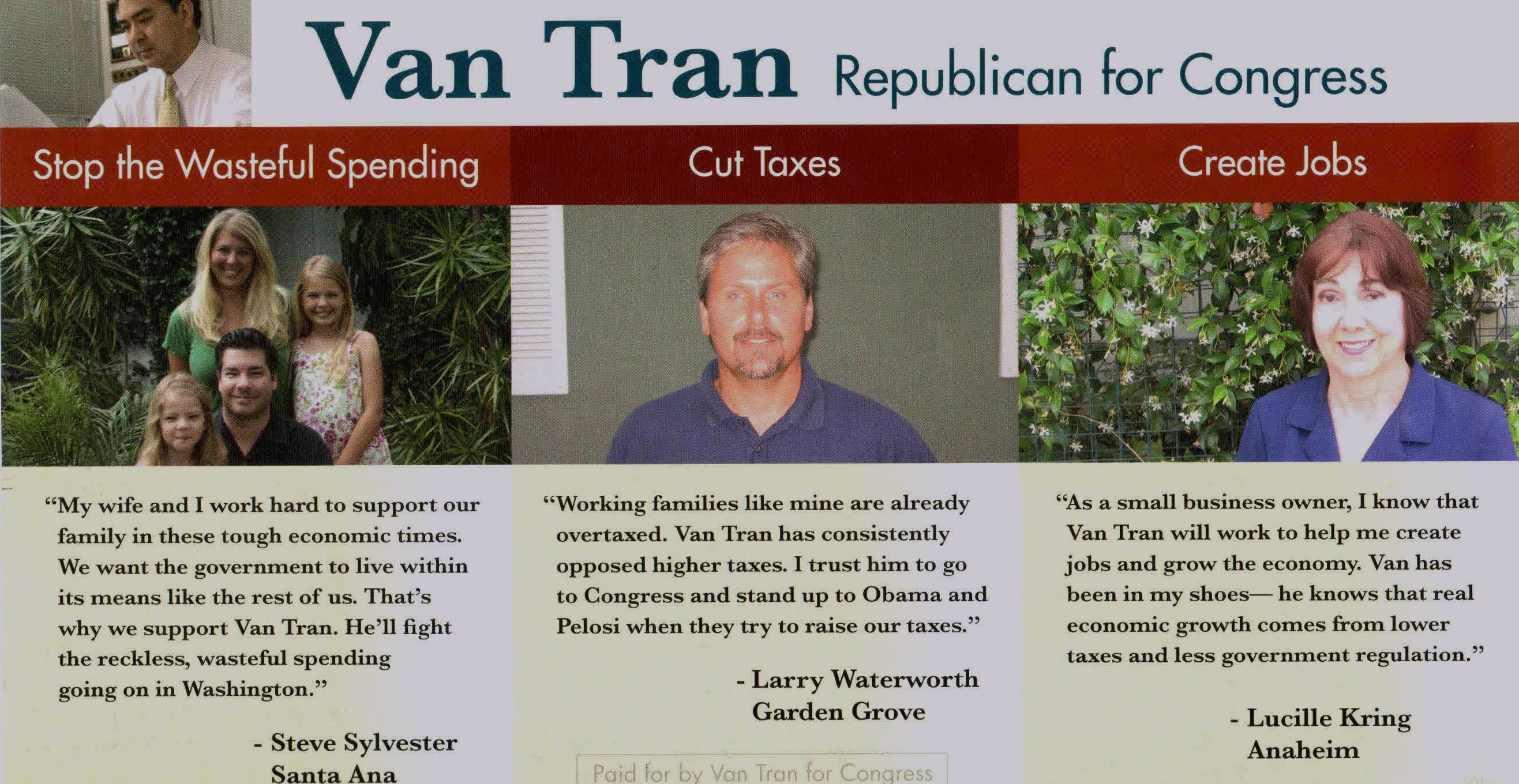 Leave it to Republican Assemblyman Van Tran to have no clue as to who lives in the 47th Congressional District.  Tran is running in the GOP primary in the 47th, […]