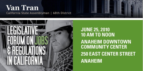 """Is thata Latino construction worker? Did he know his picture would be used by Mexican-hater Van Tran? A group of Republican Assemblymen from Orange County are holding a """"Legislative Forum […]"""