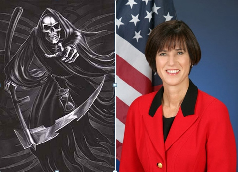 """. . . The """"Grim Reaper,"""" a traditional personification of death; and State Senator Mimi Walters. The Orange Juice Blog, NOT rally organizers, is responsible for this conjunction of […]"""