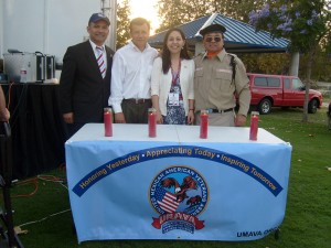 Members of UMAVA Mexican American veterans organization; from left Commander Francisco J Barragan; Mayor Miguel Pulido; Mayor Pro-tem Claudia Alvarez; Pastor Francisco Parras Jr.