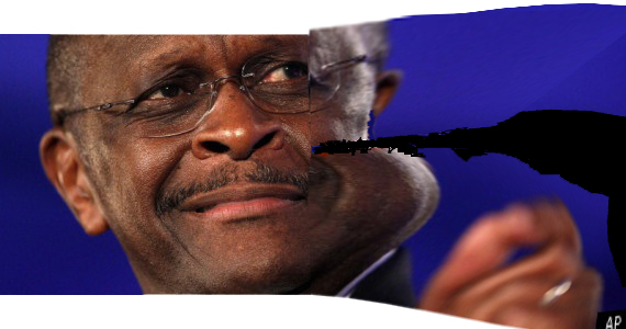 """""""Picture of Herman Cain, stretched out of shape and ripped"""""""