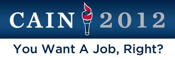 Cain 'want a job' bumper sticker