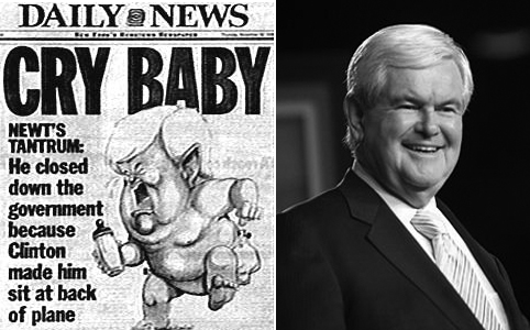 """Gingrich """"cry baby"""" drawing and photo"""