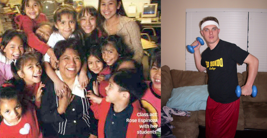 Rose Espinoza with kids, Tim Shaw with burdens