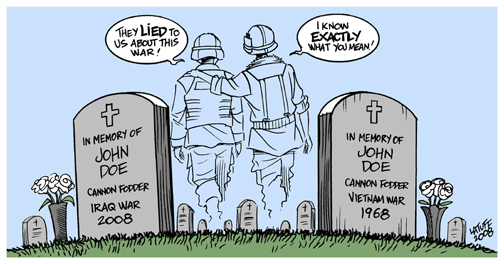 Cartoon - ghosts of Iraq and Vietnam soldiers commiserate