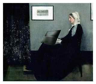 Whistler's Mother working on a laptop