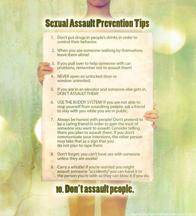 List of Sexual Assault Prevention Tips telling men not to assault women