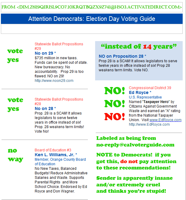 Annotated E-mail from CalVoterGuide