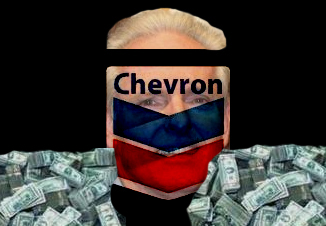 Tom Daly with Chevron logo and two piles of money