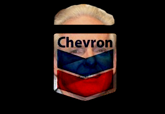 Tom Daly's face with Chevron logo superimposed