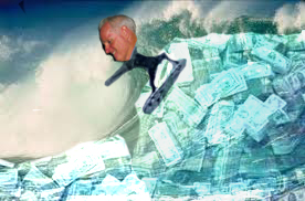 Tom Daly surfing on tsunami made of money