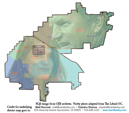 AD-65 map, with images of Quirk-Silva and Norby superimposed