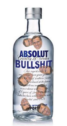 """Absolut vodka bottle with floating Romney heads inside labeled """"Absolut Bullshit"""""""