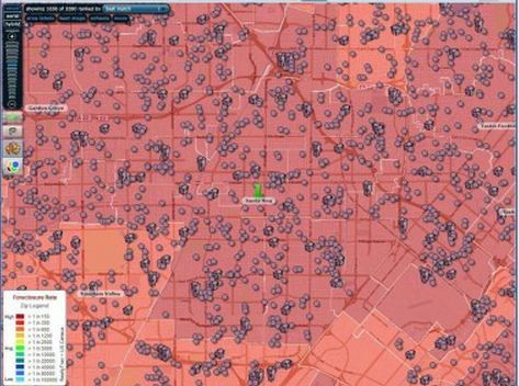 Map of Foreclosures around Santa Ana