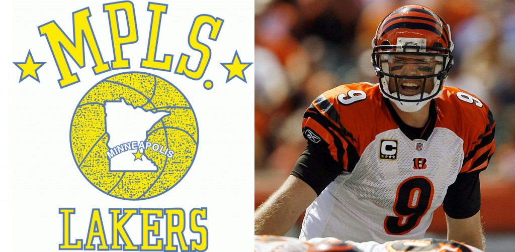 Old Minneapolis Lakers logo and Carson Palmer