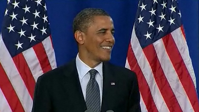 Obama smiling during Flag Day speech