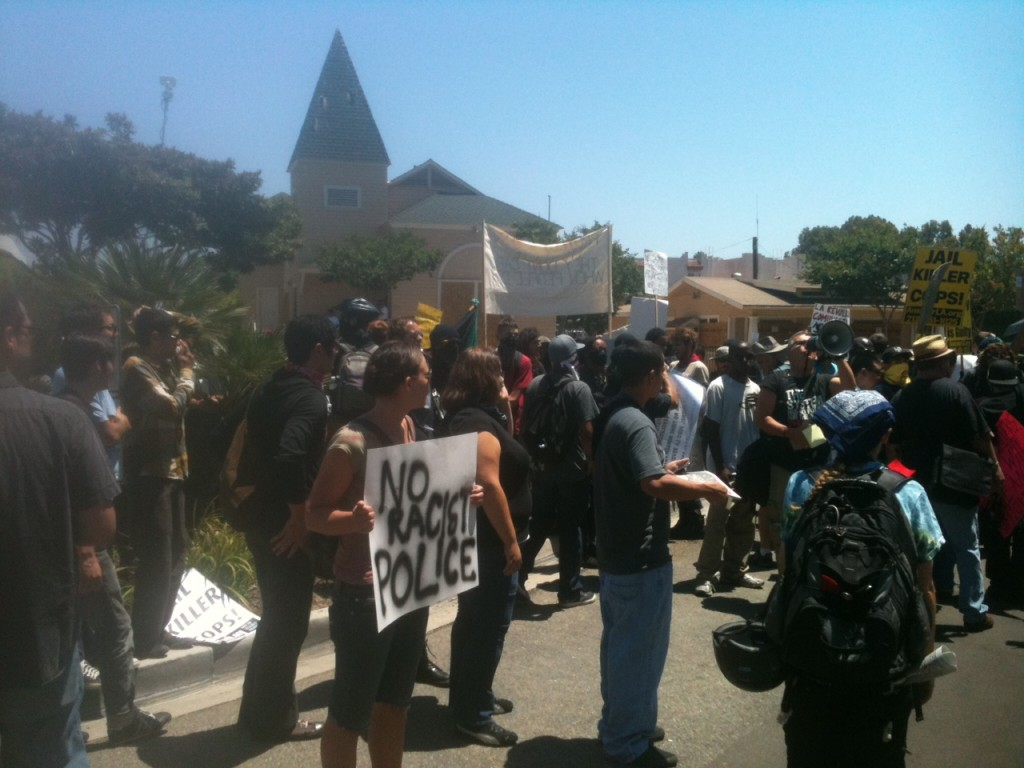 Anaheim PD - protest crowd with sign