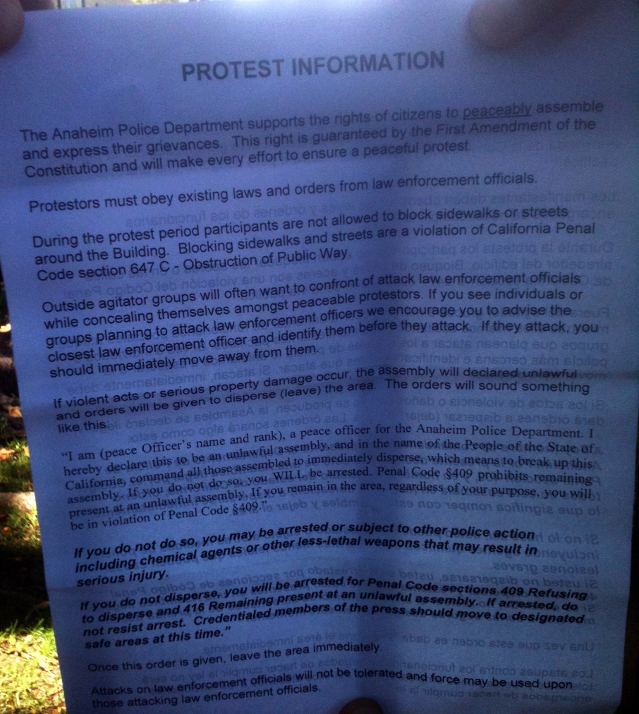 Anaheim PD - protest instructions