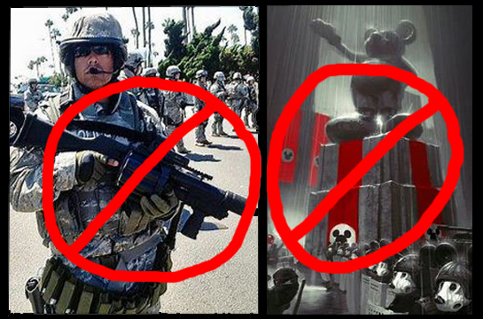 """""""No"""" signs over camo soldier and fascist Mickey images"""