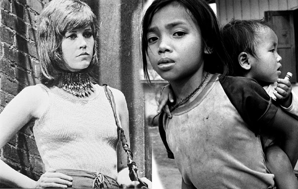 Jane Fonda as Klute juxtaposed with Cambodian child prostitute
