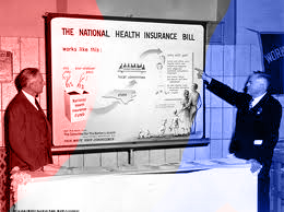 Truman being shown early proposal of health care bill