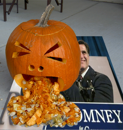 """Vomiting Pumpkin"" Jack-o-Lantern on Romney photo"