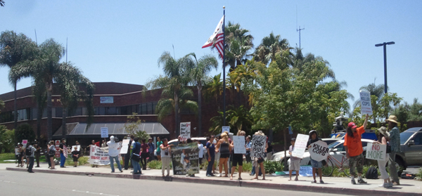 Demonstrators outside of Anaheim Police Department