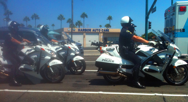 Anaheim - Motorcycle cops wait at light 20120805