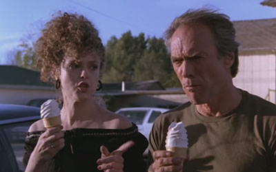 "Clint Eastwood and Bernadette Peters in ""Pink Cadillac"""