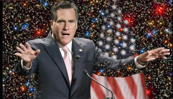 Romney and US flag against field of stars