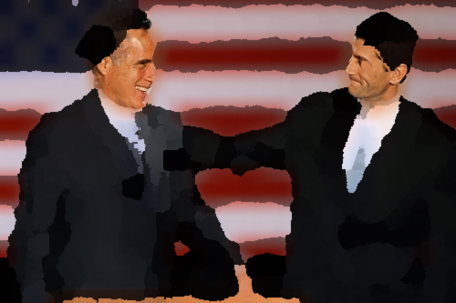 Romney and Ryan in paint daubs with real faces