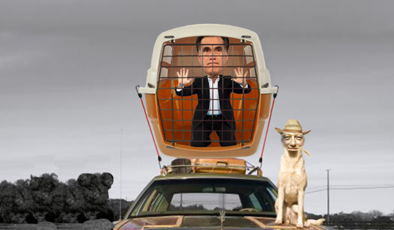 Romney in carrier atop car, Clinton as grinning dog
